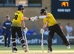Gloucestershire's Miles Hammond celebrates a boundary with team-mate Michael Klinger  <br /> <br /> Photographer Simon King/Replay Images<br /> <br /> Vitality Blast T20 - Round 8 - Glamorgan v Gloucestershire - Friday 3rd August 2018 - Sophia Gardens - Cardiff<br /> <br /> World Copyright © Replay Images . All rights reserved. info@replayimages.co.uk - http://replayimages.co.uk