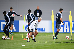 MOSCOW, July 4, 2018  France's head coach Didier Deschamps (front) attends a training session near Moscow, Russia, on July 4, 2018. France will face Uruguay in a quarter-final match of the 2018 FIFA World Cup on July 6. (Credit Image: © Du Yu/Xinhua via ZUMA Wire)