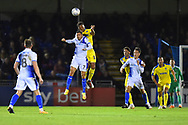 Liam Sercombe (7) of Bristol Rovers challenges for a header during the EFL Sky Bet League 1 match between Bristol Rovers and AFC Wimbledon at the Memorial Stadium, Bristol, England on 23 October 2018.