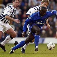 Copyright Sportsbeat. 0208 3926656<br />Picture: Henry Browne<br />Date: 12/01/2003<br />West Bromwich Albion v Chelsea FA Barclaycard Premiership<br />Jimmy Floyd Hasselbaink tries to give the West Brom defence the slip