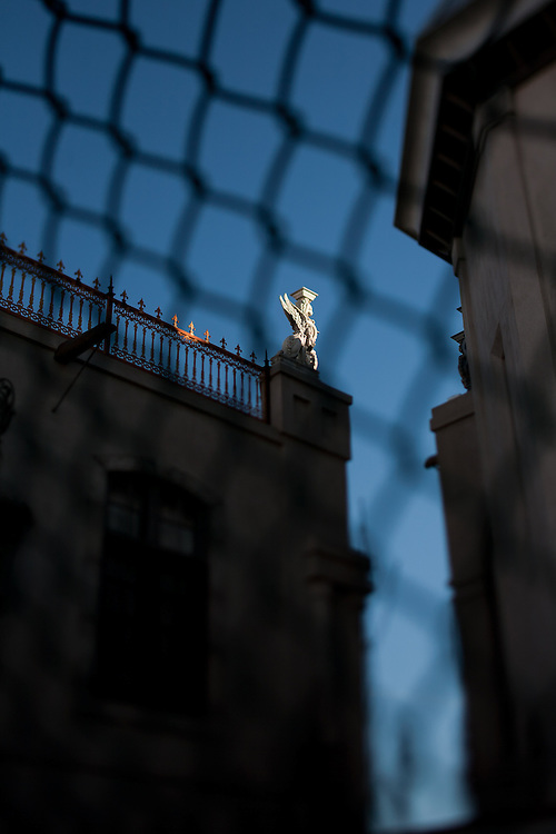 A gargoyle on the top level of Gertrude Zacharys house in downtown Albuquerque New Mexico...((NOTE TO EDITORS: Technically, this is considered a grotesque, as it is a sculpture that does not function as a waterspout and only serves an ornamental function))..CREDIT: Steven St. John for The Wall Street Journal