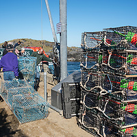 """First day in October is """"Trap Day"""" on Monhegan Island, Maine.  Island dock is stacked with about 300 wire lobster traps ready for setting in the cold Atlantic Ocean."""