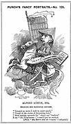 Alfred Austin (1835-1913) British poet laureate from 1896. Cartoon by Edward Linley Sambourne (1844-1910) in the Fancy Portraits series in 'Punch', London, 3 March 1883, when Austin became editor of 'National Review'. Engraving.