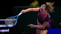 October 26, 2018 - Kallang, SINGAPORE - Elise Mertens of Belgium in action during her doubles quarterfinal at the 2018 WTA Finals tennis tournament (Credit Image: © AFP7 via ZUMA Wire)