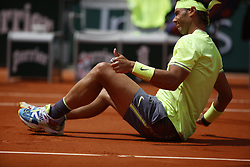 May 27, 2019 - Paris, France - Rafael Nadal of Spain in action against Yannick Hanfmann (not seen) of Germany during their men's first round match at the French Open tennis tournament at Roland Garros Stadium in Paris, France on May 27, 2019.(Photo by Mehdi Taamallah / Nurphoto) (Credit Image: © Mehdi Taamallah/NurPhoto via ZUMA Press)