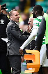 Celtic manager Brendan Rodgers shakes hands with Odsonne Edouard after final whistle during the Ladbrokes Scottish Premiership match at Celtic Park, Glasgow.