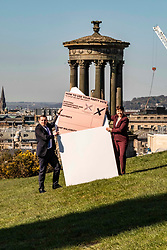 Pictured: <br />Scottish Conservative Leader Douglas Ross was joined by Rurh Davidson as they presented a giant envelope to remind people about postal votimng <br />Ger Harley | EEm 5 April 2021