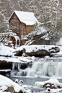 67395-04318 Glade Creek Grist Mill in winter, Babcock State Park, WV