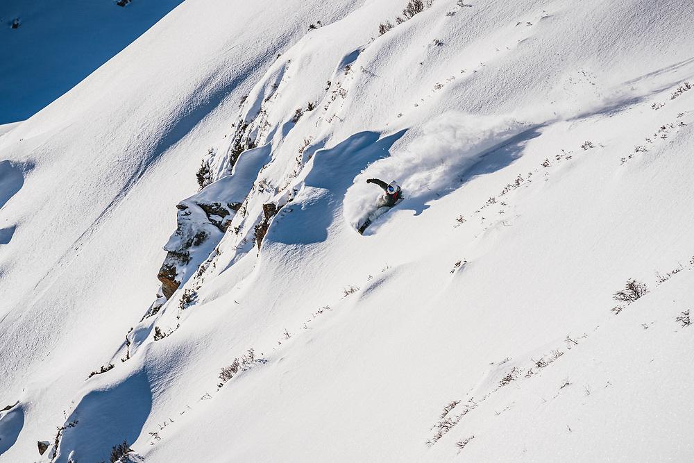 Faceted snow to the ground Ahmet Dadali keeps things light, Jyrgalan, Kyrgyzstan.