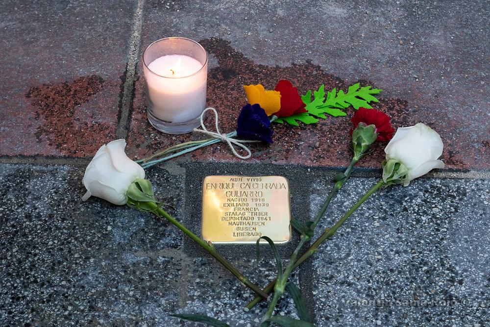 Madrid, Spain. 26th April, 2019.  The Stolperstein remembering Enrique Calcerrada Guijarro installed where he lived. © Valentin Sama-Rojo