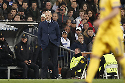 coach Zinedine Zidane of Real Madrid during the UEFA Champions League quarter final match between Real Madrid and Juventus FC at the Santiago Bernabeu stadium on April 11, 2018 in Madrid, Spain