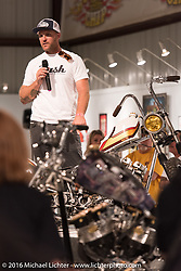 Taber Nash talks about Trucky,  his custom Ironhead Sportster at the media meet and greet on the Industry party night for Michael Lichter's tattoo themed Skin & Bones Motorcycles as Art exhibition at the Buffalo Chip during the annual Sturgis Black Hills Motorcycle Rally.  SD, USA.  August 7, 2016.  Photography ©2016 Michael Lichter.