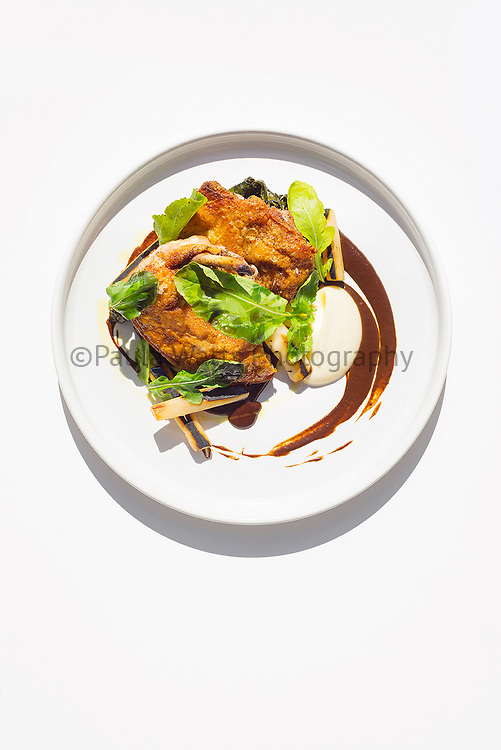 San Diego restaurant overhead view of plated chicken dinner