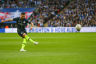 Manchester City midfielder Ilkay Gundogan (8) takes a free kick during the The FA Cup semi-final match between Manchester City and Brighton and Hove Albion at Wembley Stadium, London, England on 6 April 2019.