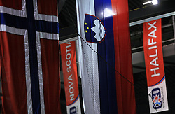 Flag of Norway and Slovenia at Preliminary Round (group B) of IIHF WC 2008 in Halifax, on May 04, 2008 in Metro Center, Halifax, Nova Scotia, Canada. (Photo by Vid Ponikvar / Sportal Images)