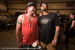 """Z"" and Warren Lane at Bill Dodge's Bling's Cycle party during Daytona Beach Bike Week 2015. FL, USA. Wednesday, March 11, 2015.  Photography ©2015 Michael Lichter."