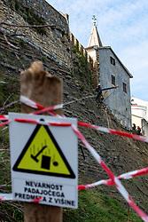 Renovation of cliff next to rectory, on October 10, 2020 in Piran, Slovenia. Photo by Matic Klansek Velej / Sportida