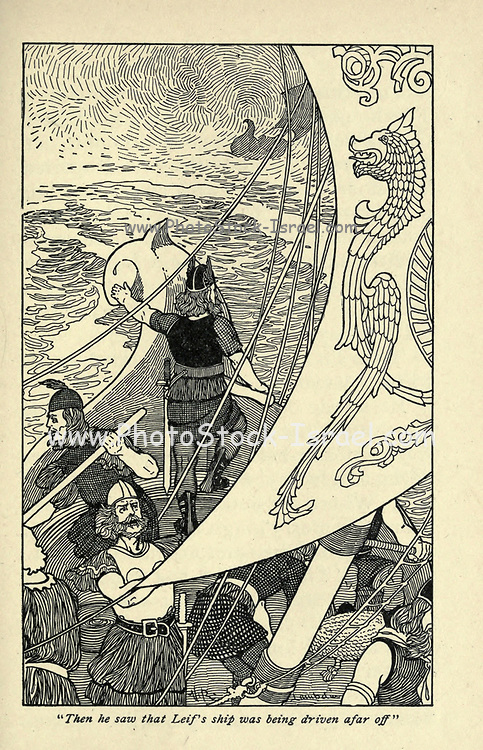 Then he saw that Leif's ship was being driven afar off From the book ' Viking tales ' by Jennie Hall, Punlished in Chicago by Rand, McNally & co in 1902