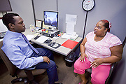 23 February 2009 -- PHOENIX, AZ: NICOLE HALL, from Phoenix, right, meets with DARRYL TAYLOR, a Career Guidance Counselor, at the Maricopa Workforce Connections office in Phoenix, AZ. Hall said she's been out of work since October 2008 and is looking for a clerical position. Maricopa Workforce Connections helps people find work and transition to new work environments. According to the US Bureau of Labor Statistics, unemployment in Arizona increased from 3.9 percent in April 2008 to 6.9 percent in December 2008.    Photo By Jack Kurtz / ZUMA Press