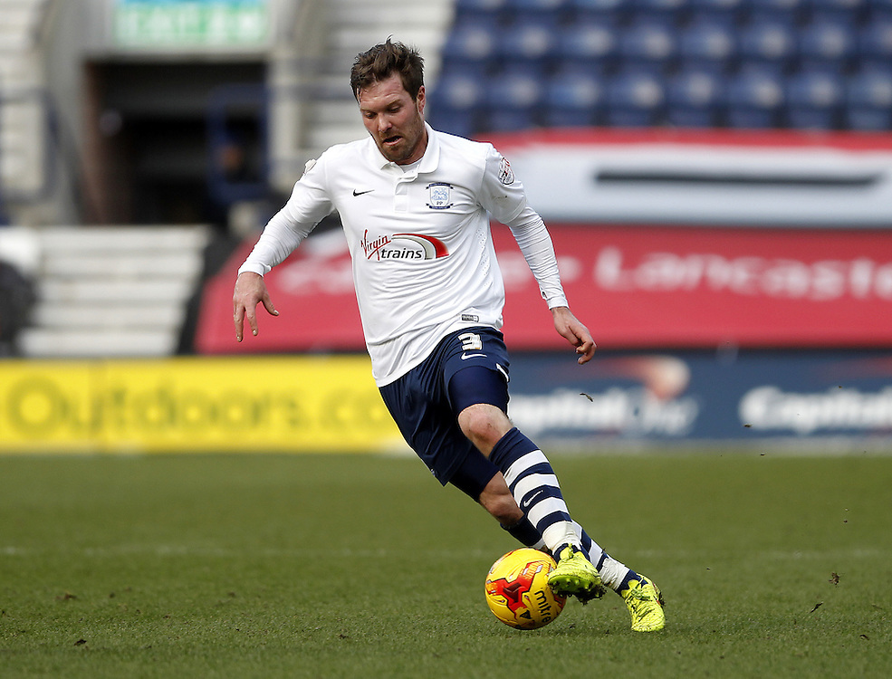 Preston North End's Scott Laird<br /> <br /> Photographer Mick Walker/CameraSport<br /> <br /> Football - The Football League Sky Bet League One - Preston North End v Scunthorpe United - Saturday 21st February 2015 - Deepdale - Preston<br /> <br /> © CameraSport - 43 Linden Ave. Countesthorpe. Leicester. England. LE8 5PG - Tel: +44 (0) 116 277 4147 - admin@camerasport.com - www.camerasport.com