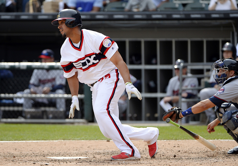 CHICAGO - APRIL 09:  Jose Abreu #79 of the Chicago White Sox bats during the game against the Minnesota Twins on April 9, 2017 at Guaranteed Rate Field in Chicago, Illinois.  (Photo by Ron Vesely)   Subject:  Jose Abreu