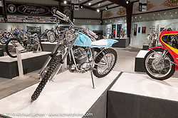 Utopeia Moto Company's Chris Tope's Ice Pick 1973 Wassell Mudlark ice racer in the What's the Skinny Exhibition (2019 iteration of the Motorcycles as Art annual series) at the Sturgis Buffalo Chip during the Sturgis Black Hills Motorcycle Rally. SD, USA. Thursday, August 8, 2019. Photography ©2019 Michael Lichter.
