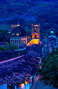 Colombia, Barichara, 18th Century Cathedral de la Concepcion, Spanish Colonial, Town Declared A National Monument, Twlight, South America