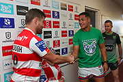 Roger Tuivasa-Sheck and Andrew McCullough shake hands at the toss. St George Dragons v Vodafone Warriors. NRL Rugby League, Netstrata Jubilee Stadium, Sydney, NSW, Australia, Sunday 18th April 2021 Copyright Photo: David Neilson / www.photosport.nz