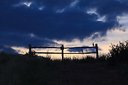 A silhouetted pair of Black-billed magpies (Pica hudsonia) on a fence in Hayden Green Mountain Park in Lakewood, Colorado. WATERMARKS WILL NOT APPEAR ON PRINTS OR LICENSED IMAGES.