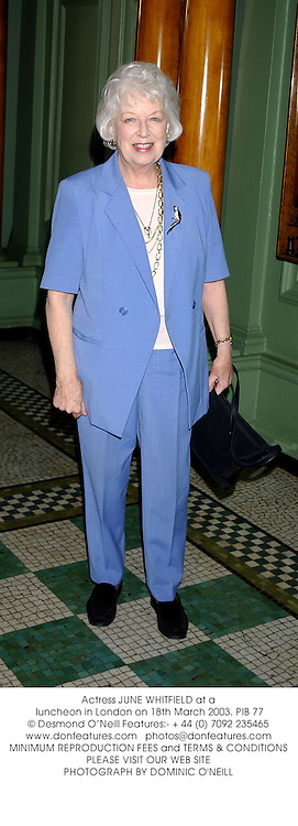 Actress JUNE WHITFIELD at a luncheon in London on 18th March 2003.PIB 77