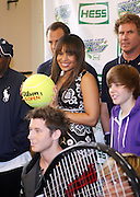 l to r: Jordin Sparks, Will Ferrell, and Justin Beiber at the 2009 Arthur Ashe Kids' Day held at The USTA Billie Jean King National Tennis Center on August 29, 2009 in Flushing, NY