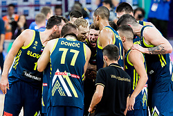 Players of Slovenia celebrate after winning during basketball match between National Teams of Slovenia and Spain at Day 15 in Semifinal of the FIBA EuroBasket 2017 at Sinan Erdem Dome in Istanbul, Turkey on September 14, 2017. Photo by Vid Ponikvar / Sportida