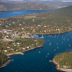 Northeast Harbor Maine from the air USA