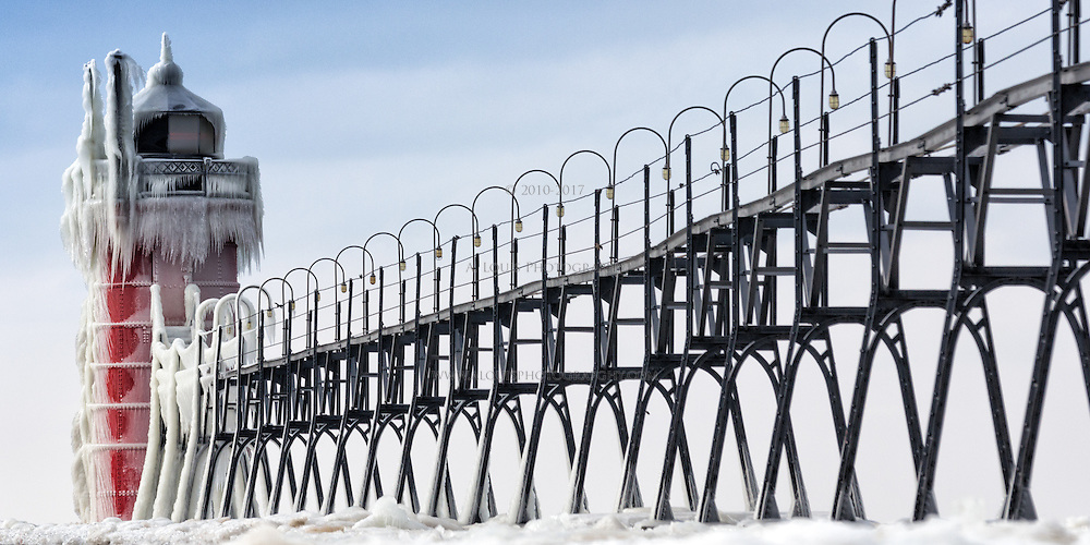 A brief winter storm leaves its mark on the lighthouse in South Haven, Michigan