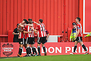 Brentford Forward Sergi Canos (47) celebrates scoring a goal (1-0) during the EFL Sky Bet Championship match between Brentford and Queens Park Rangers at Griffin Park, London, England on 21 April 2018. Picture by Stephen Wright.