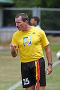 Waikato Assitant Coach Kevin O'Leary makes apoint to his players. NZFC Championship Soccer - Waikato v Canterbury, Centennial Park, Ngaruawahia. Sunday, 24 January 2010. Photo: Geoffrey Dickinson/PHOTOSPORT
