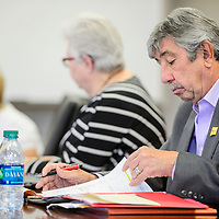 University of New Mexico Gallup interim director Jerry Dominguez attends a meeting of the advisory board at UNM-Gallup Tuesday.