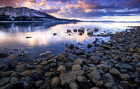 Winter sunset over Lake Tahoe, CA.<br />