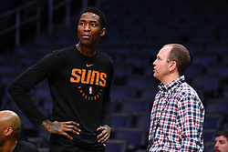 February 13, 2019 - Los Angeles, CA, U.S. - LOS ANGELES, CA - FEBRUARY 13: Phoenix Suns Guard Jamal Crawford (11) talks with Los Angeles Clippers President of Basketball Operations Lawrence Frank before a NBA game between the Phoenix Suns and the Los Angeles Clippers on February 13, 2019 at STAPLES Center in Los Angeles, CA. (Photo by Brian Rothmuller/Icon Sportswire) (Credit Image: © Brian Rothmuller/Icon SMI via ZUMA Press)