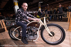 Romanian custom bike  builder Racz Dorin with his 1100 cc 1973 Harley-Davidson Ironhead Rise of Anarchy in the Swiss-Moto Customizing and Tuning Show. Zurich, Switzerland. Friday, February 22, 2019. Photography ©2019 Michael Lichter.