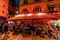 Sidewalk cafe Bar du Marche, Rue du Buci, Left Bank, Paris, France.