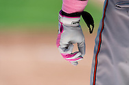 A close up view of the pink batting glove used by Steve Pearce #28 of the Baltimore Orioles on Mother's Day against the Minnesota Twins on May 12, 2013 at Target Field in Minneapolis, Minnesota.  The Orioles defeated the Twins 6 to 0.  Photo: Ben Krause