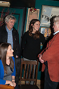 JULIET CONWAY; JAMES HUGHES-ONSLWO; FLORA HUGHES-ONSLOW; STANLEY JOHNSON, launch of The Necessity of Poverty by John Bird published by Quartet. Gerry's Club, 52 Dean Street, London, 18 December 2012.