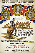 The Jews of the World Over Love Liberty ...':   recruitment poster endorsed by leaders of British Jewry exhorting Jews in Canada to enlist in support of the British war effort.