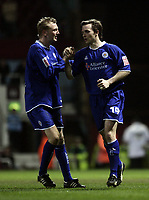 David Connolly celebrates after scoring.<br /> West Ham United v Leicester City. Coca-Cola Championship. Picture by Barry Bland 18/03/05