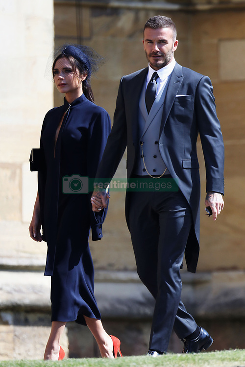 David Beckham and Victoria Beckham arrive at St George's Chapel at Windsor Castle for the wedding of Meghan Markle and Prince Harry.