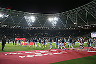 the two teams walk onto the pitch for the start of the match. Premier league match, West Ham Utd v Manchester city at the London Stadium, Queen Elizabeth Olympic Park in London on Wednesday 1st February 2017.<br /> pic by John Patrick Fletcher, Andrew Orchard sports photography.