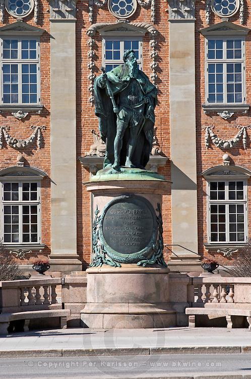 Riddarhuset, House of the Nobility, 17th century in Gamla Stan, Old Town. Statue of the king Gustav Vasa (G. I, G. Eriksson). Stockholm. Sweden, Europe.