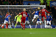 Christian Kabasele of Watford (27) heads and scores his teams 2nd goal. Premier league match, Everton vs Watford at Goodison Park in Liverpool, Merseyside on Sunday 5th November 2017.<br /> pic by Chris Stading, Andrew Orchard sports photography.