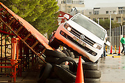Volkswagen hosted an urban off-road challenge around South Africa, promoting the attributes of the automatic transmission option of the VW Amarok. Sarel van der Merwe was on hand to guide guest through the course. Images by Greg Beadle